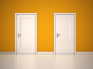 Closed White Doors on Yellow Wall. 3d render