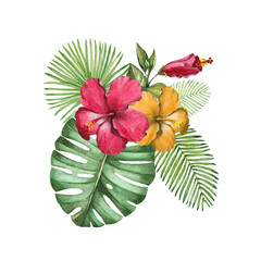 Watercolor llustration of tropical flowers