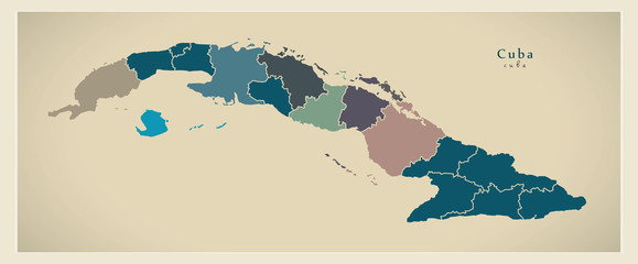 Modern Map - Cuba with provinces CU
