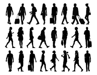 big set of people walking silhouettes set 4
