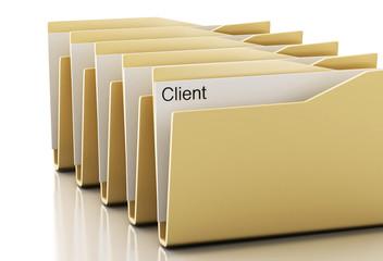 3d examines yellow folders.