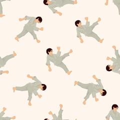 Taekwondo , cartoon seamless pattern background
