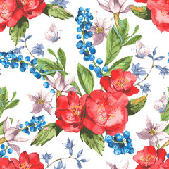 Seamless Watercolor Background with Blooming Red Roses and