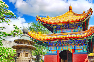 Photo sur Plexiglas Pékin Beautiful View of Yonghegong Lama Temple.Beijing. Lama Temple is