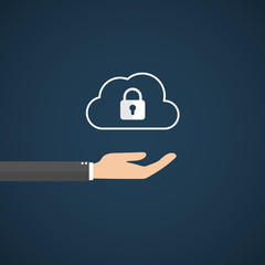 Cloud data security services concept. cloud icon with padlock. vector