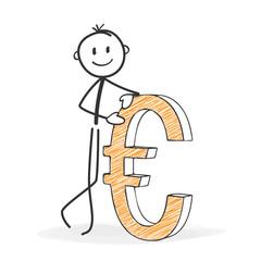 Strichmännchen mit Eurozeichen - Währung, Eurosymbol, Euro, Geld, Zeichen, Europa, international, Business, Börse, Currency, money, sign, Europe, International, Business, Stock Exchange, StickMan
