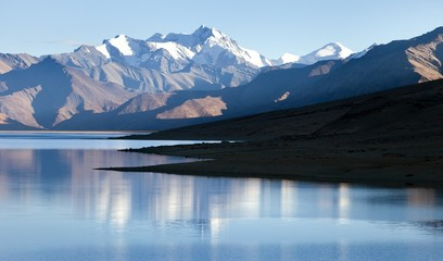 Tso Moriri Lake with Great Himalayan Range, Rupshu valley