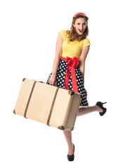 Pinup Mädchen mit Koffer will verreisen