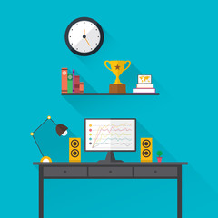 Illustration of modern workplace in room. Creative office workspace. Flat minimalistic style.