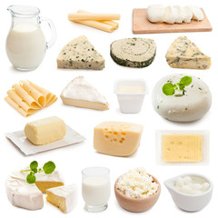 dairy products on a white background