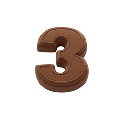 Chocolate number 3. Sweet candy font for celebration. Made in 3D.