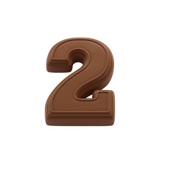 Chocolate number 2. Sweet candy font for celebration. Made in 3D.