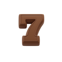 Chocolate number 7. Sweet candy font for celebration. Made in 3D.