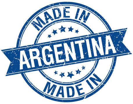 made in Argentina blue round vintage stamp