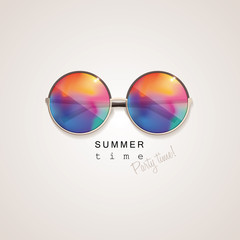 colorful sunglasses with abstract gradient mesh glass mirrors isolated on light background with summer time, party time lettering typography