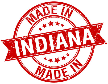 made in Indiana red round vintage stamp