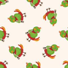 animal bird playing instrument cartoon , cartoon seamless pattern background
