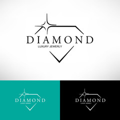 Icon with Stylized Diamond.  Vector Logo.