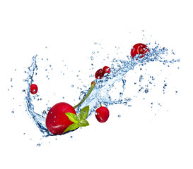 Cherries in water splash on white background
