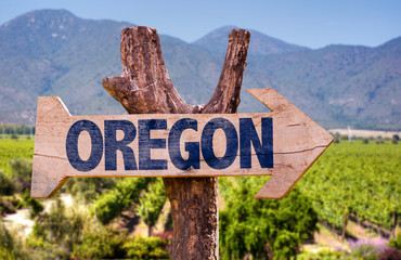Oregon wooden sign with winery background
