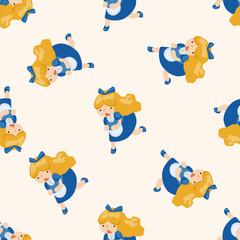 alice in wonderland , cartoon seamless pattern background