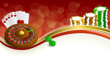Background abstract red gold casino roulette cards chips craps