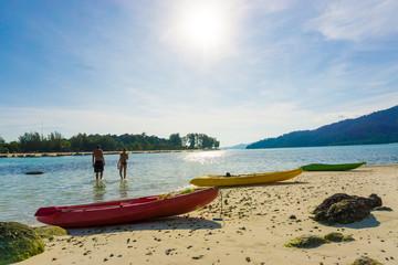 Yellow kayak on the sea. Kayaking on island