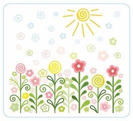 Flowers, sun, children, flat, coloured illustrations.