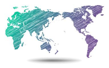 世界地図・手描き - world map -