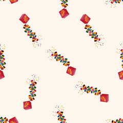 """ Wish spring comes"" Chinese firecrackers , cartoon seamless pattern background"