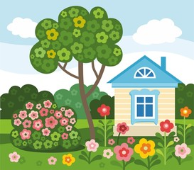 Flowers, home, summer, colored, flat, illustration.