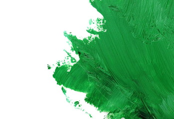 green grunge brush strokes oil paint isolated on white background