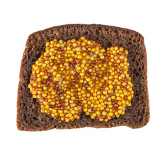 Rye bread slice topped with mustard
