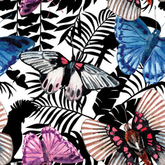 watercolor butterflies pattern, tropical silhouette background