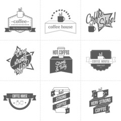 Set of different coffee shop logo templates