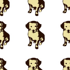 Dog puppie Golden retriever seamless pattern