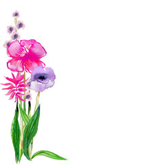 Watercolor bunch of red and purple flowers with copy space