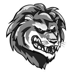 Lion mascot, monochrome team label design.