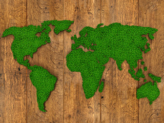 World map background with grass field and wood texture