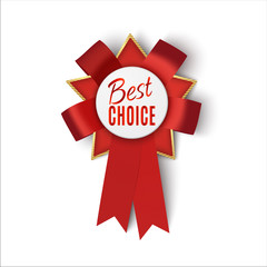 Realistic red fabric award ribbon isolated on white background