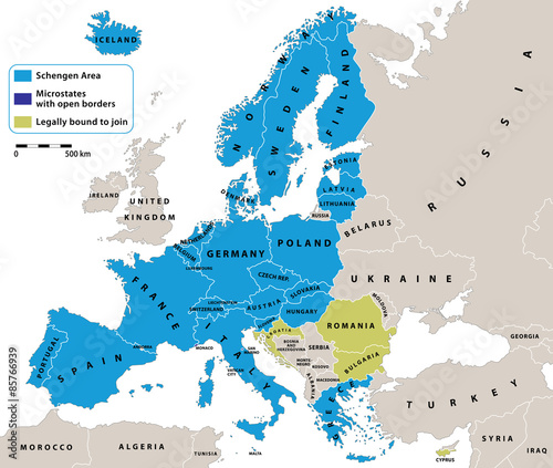 schengen area on europe political map all data are in layers for easy editing vector