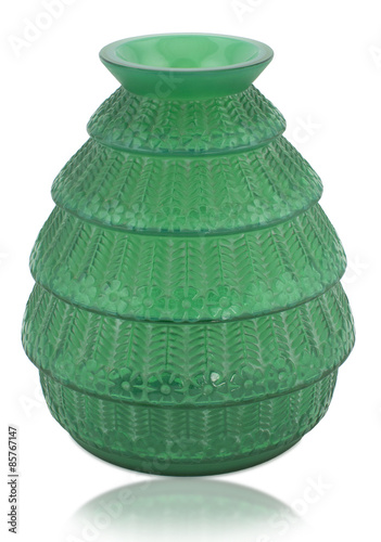 Rene Lalique Ferrieres Green Glass Vase Stock Photo And Royalty