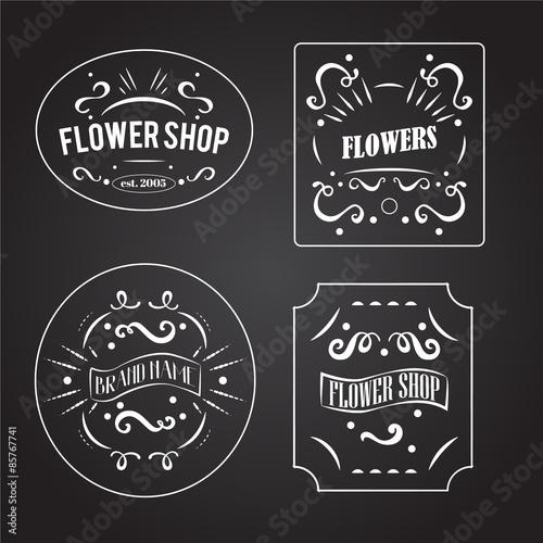 """"""" Vintage Flower Shop Labels Set. Vector Design Elements"""