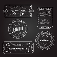 Vector logo and tags templates for vegetarian, vegan food, farm market banners. Labels on blackboard. Grunge texture