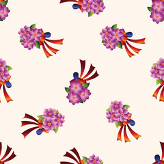 flower bouquet , cartoon seamless pattern background