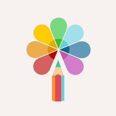 Pencil. Vector logo, colored paint and icon