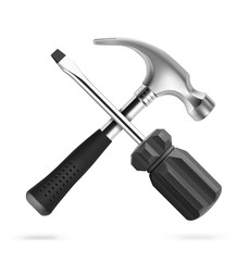 Hammer and screwdriver icon isolated on white background. Vector illustration