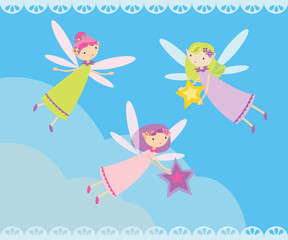Vector illustration with many fairies flying