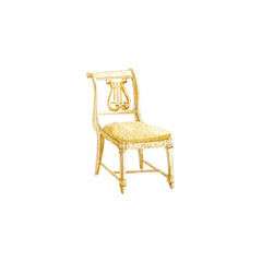 Classic chair, Watercolor illustration