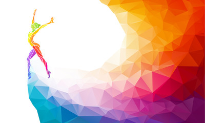 Creative silhouette of gymnastic girl. Fitness vector